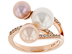 Multi-color Cultured Freshwater Pearl And Zircon 18k Rose Gold Over Silver Ring