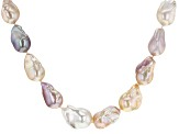 Multi-color Cultured Freshwater Pearl, Rhodium Over Sterling Silver 22 Inch Necklace