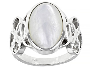 White Mother-of Pearl Rhodium over Sterling Silver Ring 16x10mm