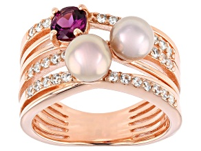 Cultured Freshwater Pearl, White Zircon, Purple Rhodolite 18k Rose Gold Ring