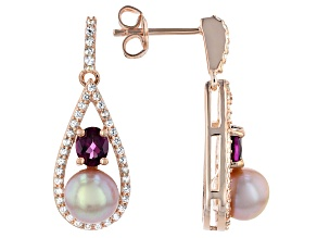 Cultured Freshwater Pearl With Rhodolite & Zircon 18k Rose Gold Over Sterling Silver Earrings