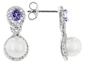 White Cultured Freshwater Pearl With Tanzanite & White Zircon Rhodium Over Sterling Silver Earrings