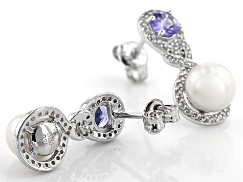 White Cultured Freshwater Pearl With Tanzanite & Zircon Rhodium Over Sterling Silver Earrings