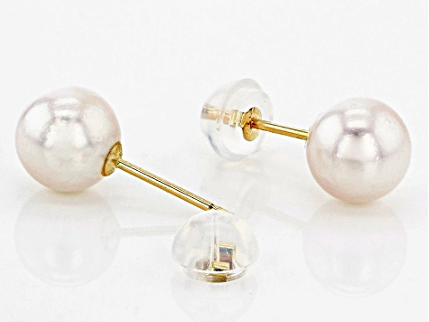 Cultured Japanese Akoya Pearl 14k Yellow Gold Stud Earrings