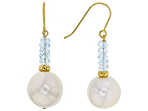 Cultured Freshwater Pearl With Aquamarine 18k Yellow Gold Over Silver Earrings 12mm