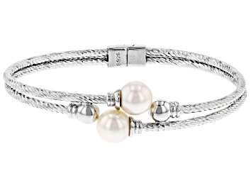 Picture of White Cultured Japanese Akoya Pearl Rhodium Over Sterling Silver Diamond Cut Bracelet