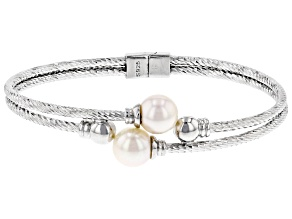White Cultured Japanese Akoya Pearl Rhodium Over Sterling Silver Diamond Cut Bracelet
