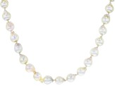 White Cultured Japanese Akoya Pearl, Rhodium Over Sterling Silver 36 Inch Necklace