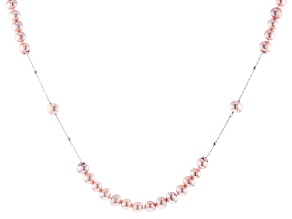 Pink Cultured Freshwater Pearl Rhodium Over Sterling Silver 36 Inch Necklace 6-7mm