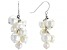 White Cultured Freshwater Pearl Rhodium Over Sterling Silver Dangle Cluster Earrings