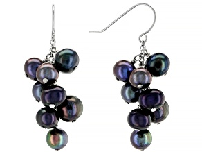 Black Cultured Freshwater Pearl Rhodium Over Sterling Silver Dangle Cluster Earrings