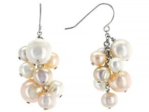 Multi-color Cultured Freshwater Pearl Rhodium Over Sterling Silver Dangle Cluster Earrings