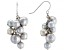 Silver Cultured Freshwater Pearl Rhodium Over Sterling Silver Dangle Cluster Earrings