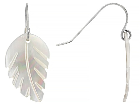 White Mother of Pearl Rhodium Over Sterling Silver Feather Earrings 13mm