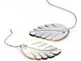 Black Mother of Pearl Rhodium Over Sterling Silver Feather Earrings 13mm