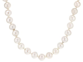 Cultured Freshwater Pearl Rhodium Over Sterling Silver Necklace 12-14mm