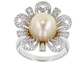 Golden Cultured South Sea 10mm Button Pearl And 0.85ctw White Topaz Sterling Silver Ring