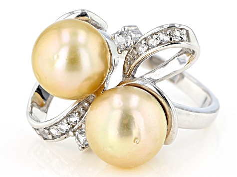 10mm Golden Cultured South Sea Pearl And White Topaz 0.3ctw Rhodium Over Sterling Silver Ring