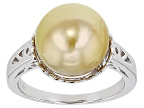 Golden Cultured South Sea Pearl Rhodium Over Sterling Silver Ring 11-12mm