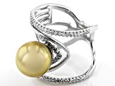 Golden Cultured South Sea Pearl And 0.5ctw White Topaz Rhodium Over Sterling Silver Ring