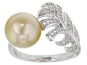 Golden Cultured South Sea Pearl And 0.26ctw White Topaz Rhodium Over Sterling Silver Ring