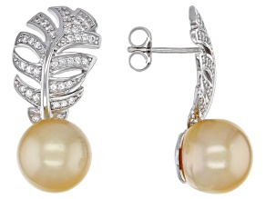 Golden Cultured South Sea Pearl And 0.26ctw White Topaz Rhodium Over Sterling Silver Earrings