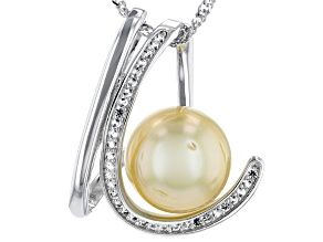 Golden Cultured South Sea Pearl 11mm & Topaz 0.17ctw Sterling Silver Pendant With 18 Inch Chain