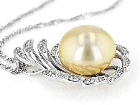 Golden Cultured South Sea 13-14mm Pearl And 0.57ctw White Topaz Sterling Silver Pendant With Chain