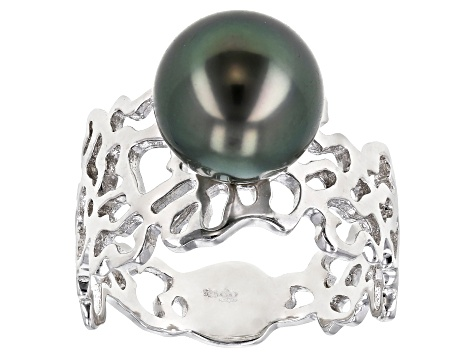 Cultured Tahitian 8-9mm Off-Round Pearl Rhodium Over Sterling Silver Ring