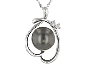 Cultured Tahitian 13-14mm Pearl And 0.15ctw White Topaz Sterling Silver Pendant With Chain