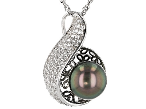 Cultured Tahitian Pearl 9-10mm And White Topaz 0.85ctw Sterling Silver Pendant With Chain
