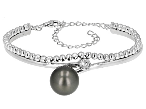 Cultured Tahitian Pearl And 0.3ctw White Topaz Rhodium Over Sterling Silver Bracelet