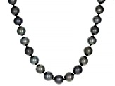 Cultured Tahitian Pearl Rhodium Over Sterling Silver 18 Inch Strand Necklace
