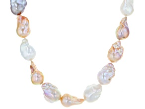 Genusis™ Multi-color Cultured Freshwater Pearl Rhodium Over Sterling Silver Necklace