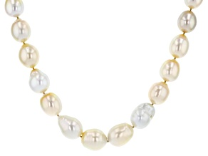 Multi-color Cultured South Sea Pearl Rhodium Over Sterling Silver 20 Inch Necklace