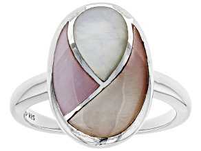 Pink and White Mother-of-Pearl Rhodium Over Sterling Silver Ring