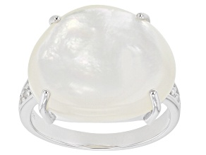 White South Sea Mother-of-Pearl And White Zircon 0.12ctw Rhodium Over Sterling Silver Ring
