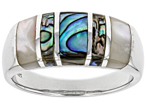 White South Sea Mother-of-Pearl And Abalone Shell Rhodium Over Sterling Silver Ring
