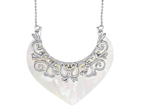 White South Sea Mother-of-Pearl Rhodium Over Sterling 20 Inch Necklace