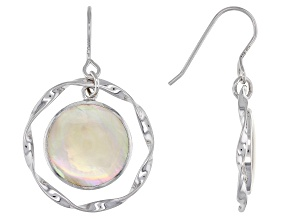 Golden South Sea Mother-of-Pearl Rhodium Over Sterling Silver Earrings
