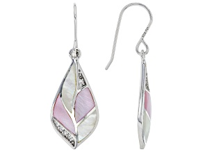 Pink And White South Sea Mother-of-Pearl With White Zircon Rhodium Over Sterling Silver Earrings