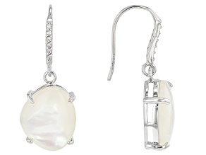 White South Sea Mother-of-Pearl And White Zircon 0.12ctw Rhodium Over Sterling Silver Earrings