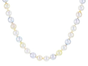 Multi-color Cultured Japanese Akoya Pearl 14k Yellow Gold 18 Inch Strand Necklace