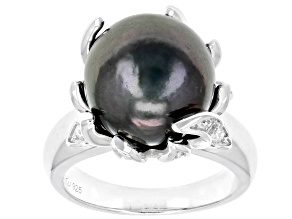 Cultured Tahitian Pearl And 0.92ctw White Zircon Rhodium Over Sterling Silver Ring