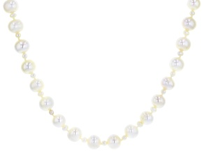 White Cultured Freshwater Pearl Rhodium Over Sterling Silver 36 Inch Necklace