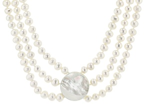 Cultured Freshwater Pearl & Mother-Of-Pearl 20.5 Inch 3 Strand Necklace