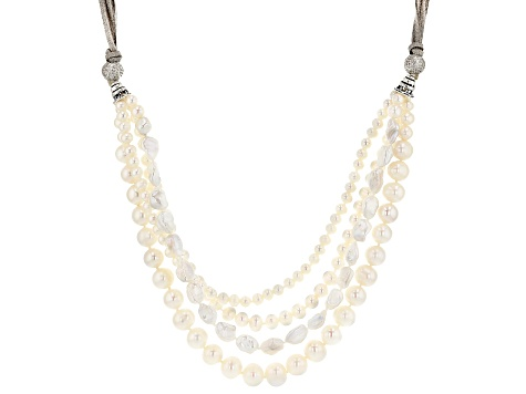 Cultured Freshwater Pearl And Cubic Zirconia Suede And Rhodium Over Sterling Silver Necklace