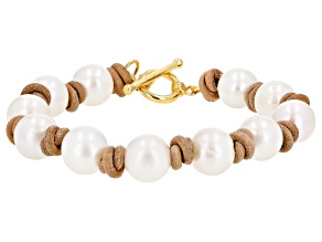 Cultured Freshwater Pearl With Tan Suede And 18k Yellow Gold Over Sterling Silver 8 Inch Bracelet