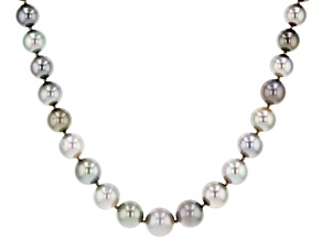 Multi-color Cultured Tahitian Pearl 14k White Gold 18 Inch Graduated Strand Necklace