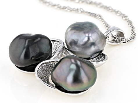 Multi-Color Cultured Keshi Tahitian Pearl Rhodium Over Sterling Silver Pendant With 18 Inch Chain